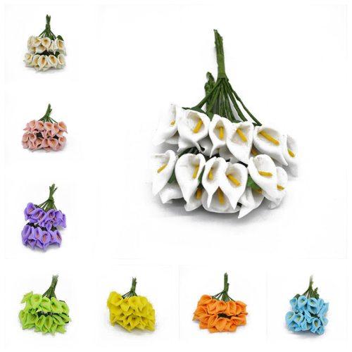 36pcs Mini PE Calla Lily Artificial Flower Bouquet Multicolor Rose Wedding Party Flower Decoration Scrapbooking Fake Flowers