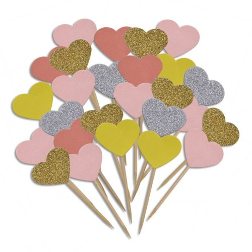 20 Pieces/Lot Handmade Lovely Pink Heart Cupcake Toppers Cake Party Supplies Birthday Wedding Party Decoration