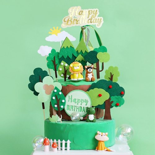 1Set DIY Jungle Animal Cake Topper Birthday Party Decorations Kids Cupcake Toppers Jungle Party Supplies Baby Shower Favors