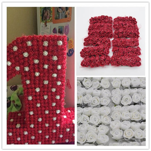 144pcs Mini Foam Rose Artificial Flowers With Pearl For Home Wedding Car Decoration DIY Scrapbooking Wreath Bridal Fake Flower