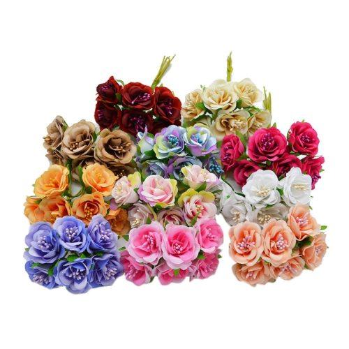 6pcs Silk Gradient Stamen Handmake Artificial Flower Bouquet Wedding Party Home Decoration DIY Fake Wreath Scrapbooking Craft