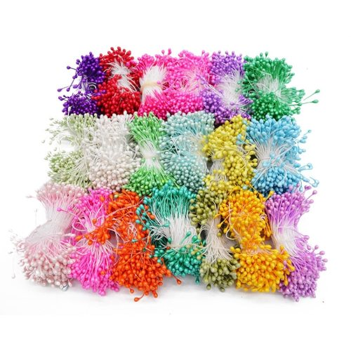 1 Bundle= (500PCS )Artificial Flower Double Heads Stamen Pearlized Craft Cards Cakes Decor Floral for home wedding party decor