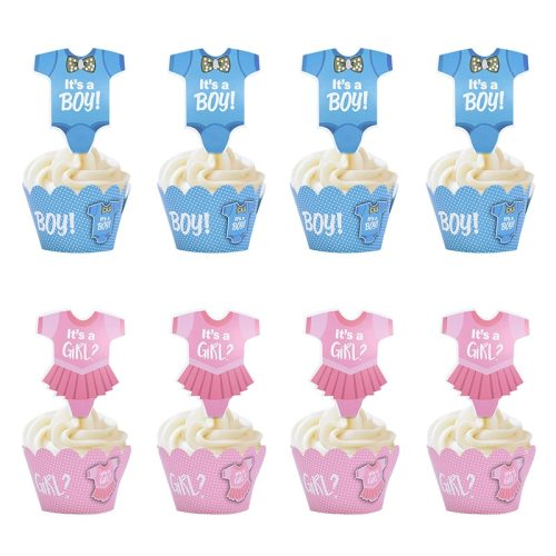 24Pcs Baby Shower Decoration Cupcake Wrapper with Topper Gender Reveal Party Supplies Baby Shower Girl Kids Birthday Decorations