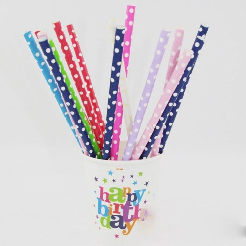 25pcs/lot Colorful Polka Dot Paper Straws for Birthday Wedding Decorative Party Environmental Chevron Creative Drinking Straws