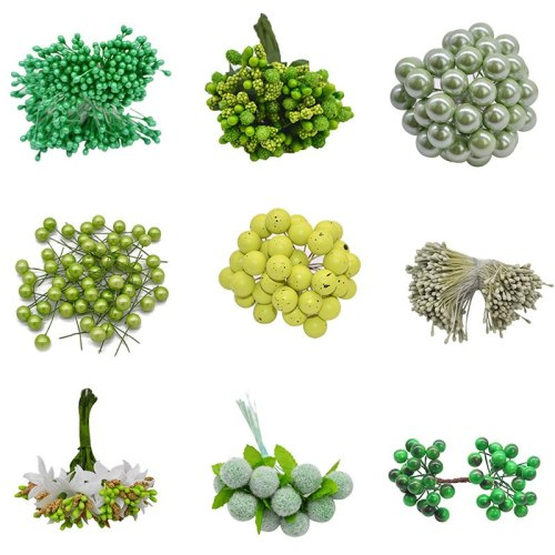 Green Theme Artificial Flower Cherry Stamen Berries Bundle DIY Christmas Decoration Wedding Cake Gift Box Wreaths Xmas Decor