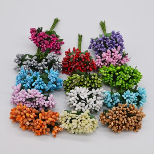 24pcs/lot Mulberry Stamen Artificial Flowers Stamen /DIY Pistils For Flowers Heads Wedding Party Scrapbooking Craft Decoration