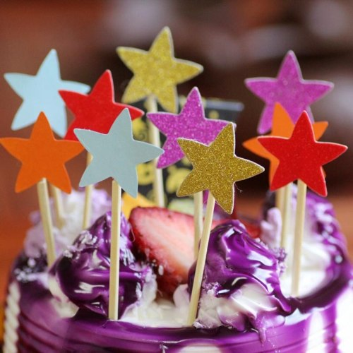 20pcs Shiny Glitter Star Cake Topper Inserted Card Cupcake Flag Happy Birthday Decoration Wedding Xmas Party Kids Favor Supplies