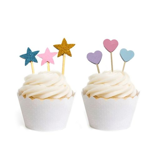 20 Pcs Handmade Lovely Glitter Heart Star Cupcake Toppers Birthday Wedding Party Decoration Cake Decoration Food Picks Supplies