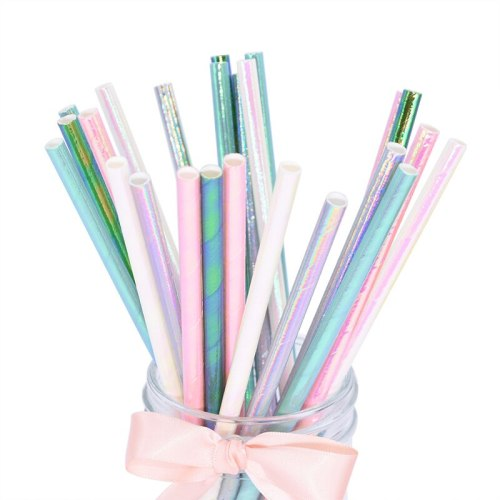 25Pcs Rainbow Iridescent Paper Straws for Baby Shower Wedding Birthday Party Decoration Supplies Mix Paper Drinking Straws