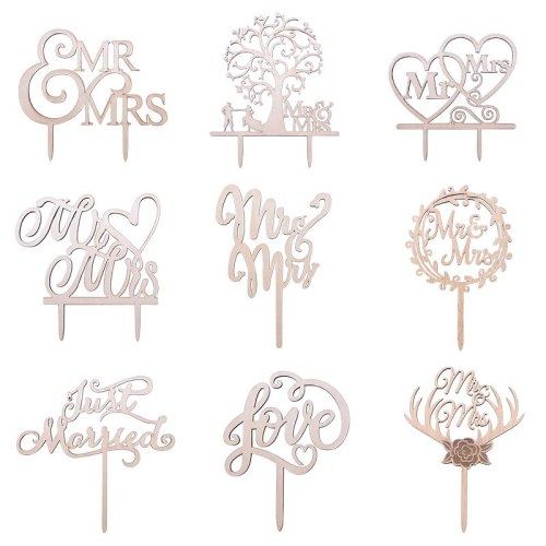 1Pcs Wedding Cake Topper Wood Mr& Mrs Just Married Decoration Bride Groom DIY Wedding Cake Decorations Engagement Party Supplies
