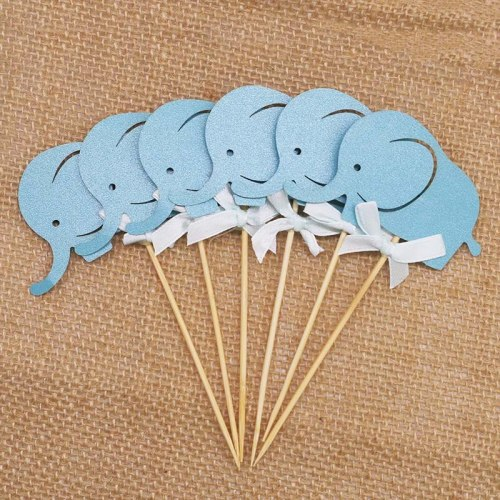 10PCS Blue&Pink Cartoon Elephant Cupcake Toppers Picks Cake Toppers for Baby Shower Girl Boy Kids Birthday Party Decoration