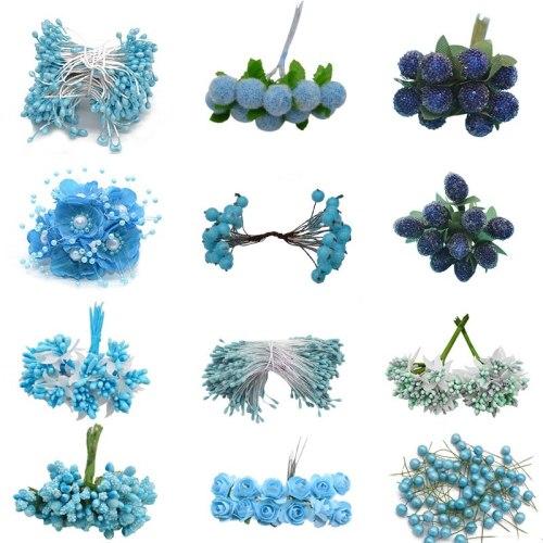 Mix Blue Artificial Flower Cherry Stamen Berries Bundle DIY Christmas Decoration Wedding Cake Gift Box Wreaths Xmas Decor