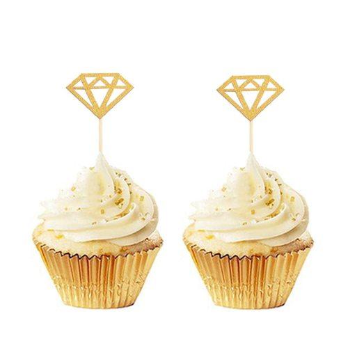 20Pcs Gold Silver Glitter Diamond Ring Cupcake Toppers Cake Topper Wedding Cupcake Topper Birthday Party Wedding Decoration