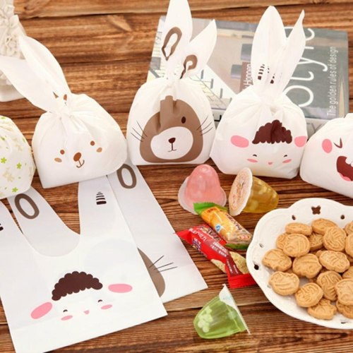 25pcs/lot Cute Rabbit Ear Cookie Candy Bags Self-Adhesive Plastic Bag For Biscuits Snack Baking Package Gift Bags