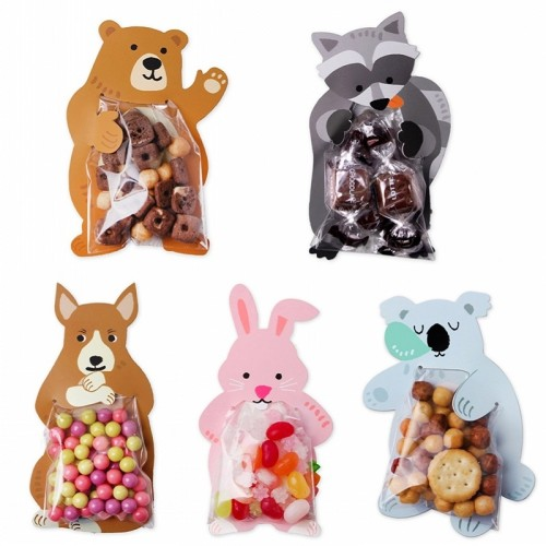 10pcs/lot Animal Cute Gift Bags Candy Bags Baby Shower Birthday Party Cookie Bags Bear Candy Box Greeting Cards Popular Rabbit