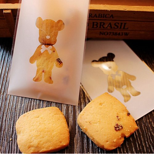 50pcs Cute Bear Cartoon Cookies Biscuits Bags Self-adhesive Wedding Bag Cake Candy Gift Bags Baby Shower Party Favors 7*10cm