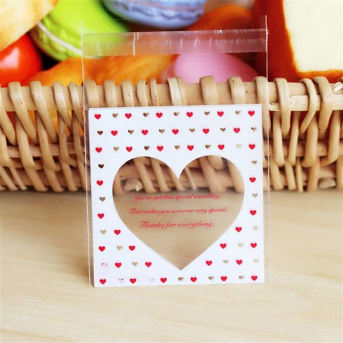 50Pcs/lot Cute Heart Theme Candy Cookie Bags Wedding Birthday Party Candy Buscuit Packaging Bag Christmas Plastic Gift Bags