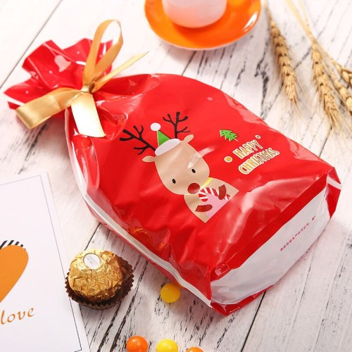 5Pcs Merry Christmas Plastic Candy Gift Bag Cute Cookie Packaging Bags for Biscuits Snack Candy Christmas Party Decoration