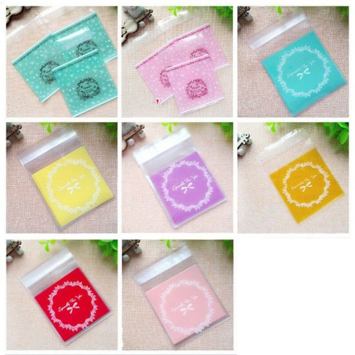 100pcs/lot Multicolor Candy Cookie Packaging Bags Self-adhesive Plastic Biscuits Baking Package Wedding Brithday Party Gift Bags