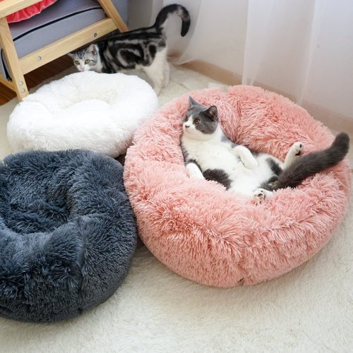 Soft Warm Round Pet Cat Bed Comfortable Pet Nest Dog Cat Washable Kennel Easy To Clean Dog Bed Warm House For Pet