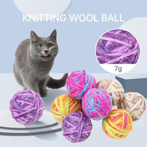 1PC Random Color Funny Pet Cat Bite Toy Pet Ball Toy 5cm Pet Cat Toy Plush Pet Cat Chewing Ball Toys