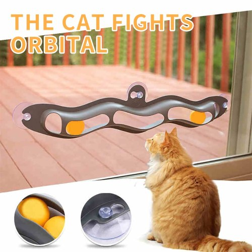 Pet Accessories Funny Cat Educational Toys Cat Plastic Sucker Track Ball Toy Adsorption Window Glass Table Tennis
