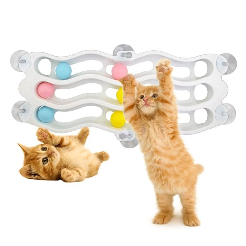 Pet Cats Puzzle Play Toy Interactive Cat Tunnel Ball Toy With Suction Cup Adsorption Windows Glass Plastic Track Balls Toys