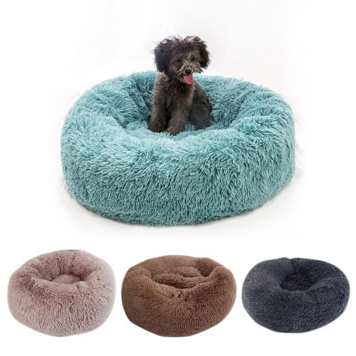 Warm Soft Cat Sleeping Bed House Pet Dogs Cushion Kennel Round Nest Winter Long Plush  Basket Nest for Small Medium Cats