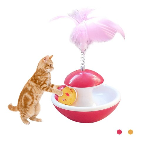 Pet Cat Play Tumbler Ball Toys Funny Cat Kitten Rolling Scratching Ball Toy Pet Cat Kitten Interactive Feather Ball Toy