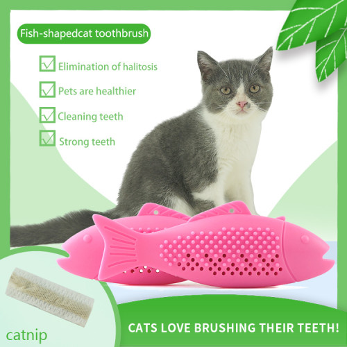 Pet Cats Chew Toys Cute Fish Shaped Teeth Cleaning Stick Interactive Cats Toys Dog Cat Toothbrush Toy Funny Toy For Kitten