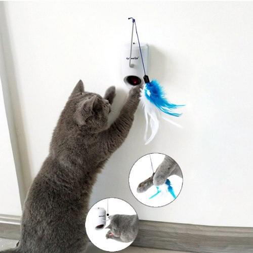 Pet Cat Supplies Pet Kitten Laser Feather Toys With Three Funny Feather Automatic Electric Toys Cat Sticks Toys Cat Laser Toys