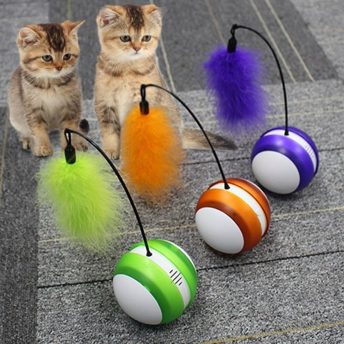 Automatic Pet Cat Rolling Ball Toy Pet Funny Tumbler Ball Toys For Cat Puppy Electric Cat Interactive Tumbler Faux Feather Toy