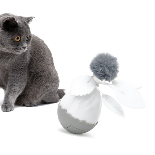 Kitten Electric Rolling Tumbler Ball Pet Cat Interactive Toys Cats Play Dolls Feathers Plush Balls Toy Funny Pet Cat Tumbler Toy