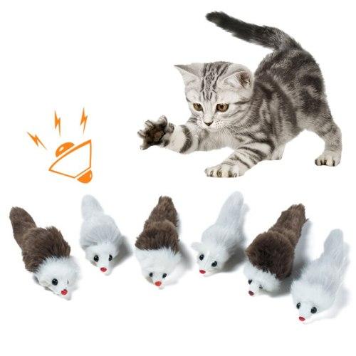 4/8/10PCS Little Mouse Vocal Simulation Pet Cat Squeak Toy  Plush Doll Vocal Mice Cat Dog Mouse Kitten Toys