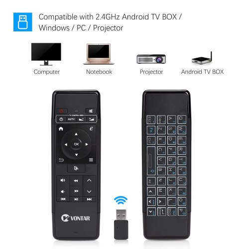 2.4GHz Air Mouse Wireless Keyboard 6-Axis IR Learning Remote Control with Backlit rechargable for Android TV BOX PC