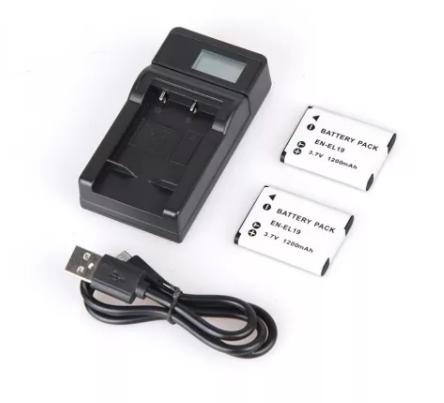 2pcs 1200mAh ENEL19 EN-EL19 EN EL19 Rechargeable Camera Battery + LCD Display USB charger for Nikon S2500 S3100 S4100