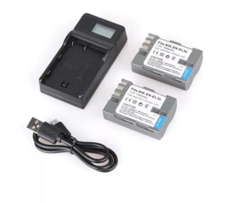 2pcs EN-EL3E ENEL3E EN EL3E 1500mAh Camera Battery + LCD Display USB Charger for  Nikon D100 D200 D300 D50 D70 D80 D90