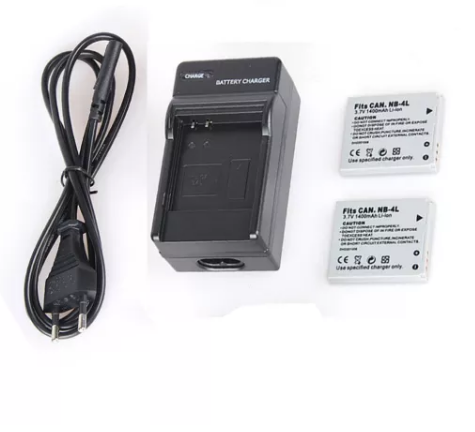 2pcs 1400mAh NB-4L NB4L NB 4L Rechargeable Camera Battery + Plug Charger for Canon IXUS 30 40 50 55 60 65 70 75