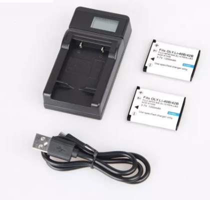 2pcs 1200mAh EN-EL10 Li-42b Li-40b FNP-45 D-Li63 CNP-80 Camera Battery + LCD Display USB Charger for OLYMPUS for Nikon
