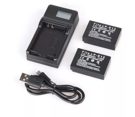 LP-E12 LPE12 Batteries LP E12 Digial Camera Battery + USB  Charger LCD Display for M 100D Kiss X7 Rebel SL1 M10