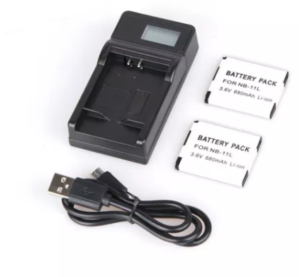 2pcs NB-11L NB11L NB 11L Rechargeable Battery + LCD Display USB  Charger for Canon A2300 A2400IS A2600 A3400IS