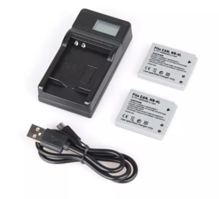 2pcs NB-4L NB4L NB 4L 1400mAh Camera Battery + USB LCD Display  Charger for Canon IXUS 60 65 80 75 I20 110 115 120