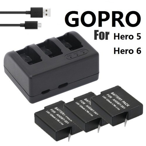 NEW For Gopro HERO battery Gopro 578 batteries 3-way USB charger and Battery case for HERO 6 Action camera Accessories Clownfish