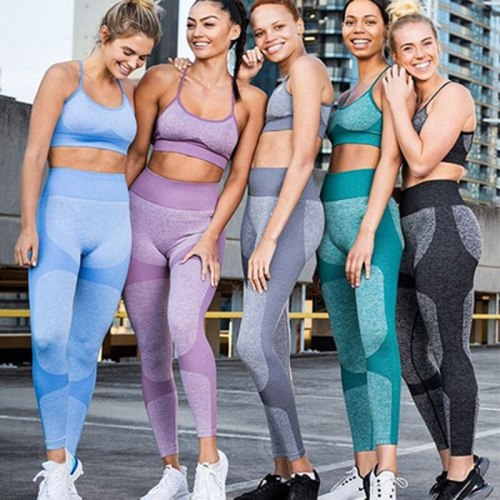 2020 Women's Seamless Yoga Set Sportswear Fitness Bra Sports Suits GYM High Waist Running Leggings Workout Pants Quick-drying