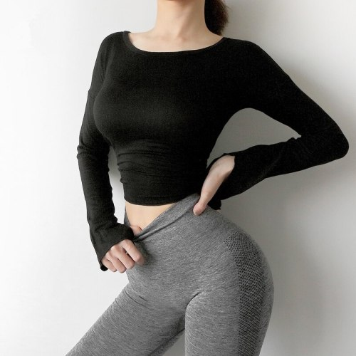 Women Yoga Shirts Long Sleeve Bandage Sport Shirt Double Wear Way Women Running Shirt Gym Clothes Fitness Top Workout Sportswear