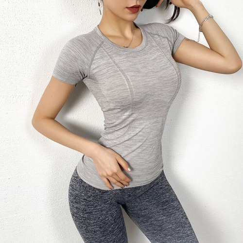 Women Yoga Top Breathable Sport T Shirts Fitness Clothes Short Sleeve Yoga Shirts Gym Top Running Sport Training Short Tops