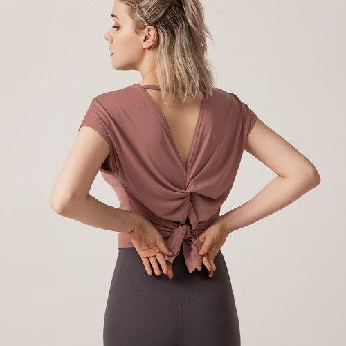 Back Split Twist Sport Shirt Women Loose Fit Modal Yoga Shirts Bat Sleeve Gym Fitness Tee Breathable Workout Tops Sports Blouse