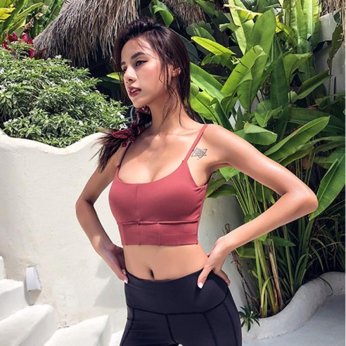 Autumn New Thin Strap Sports Bra Sexy Low Cut Shockproof Womens Running Bras Scoop Back Longline Workout Yoag Athletic Bra Tops
