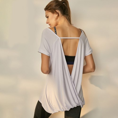 Comfortable Model Top Yoga Top Women Short Sleeve Cross Wrap Backless T-shirt Summer Thin Loose Sport Tee Gym Fitness Clothing