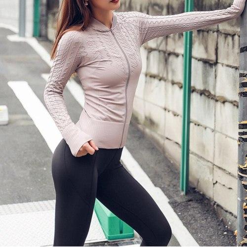 Women Pink Seamless Yoga Top Long Sleeves Sports Jersey Mujer Gym Shirt Women Sportswear Workout Jacket Running Fitness Top